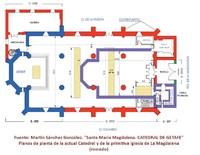 Planos de planta de la Catedral y de la antigua iglesia de La Magdalena